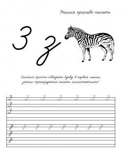 Пропись буквы з, раскраска зебра, учимся красиво писать