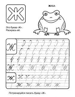 Прописи букв ж, с раскраской жаба