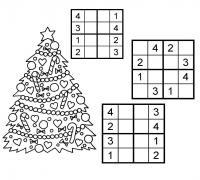 Судоку для детей 4х4, 4 на 4, с елочкой, 3 варианта