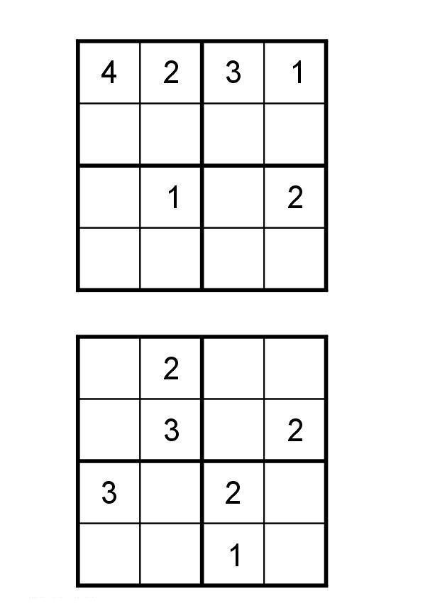 Судоку для детей 4 на 4, 4х4