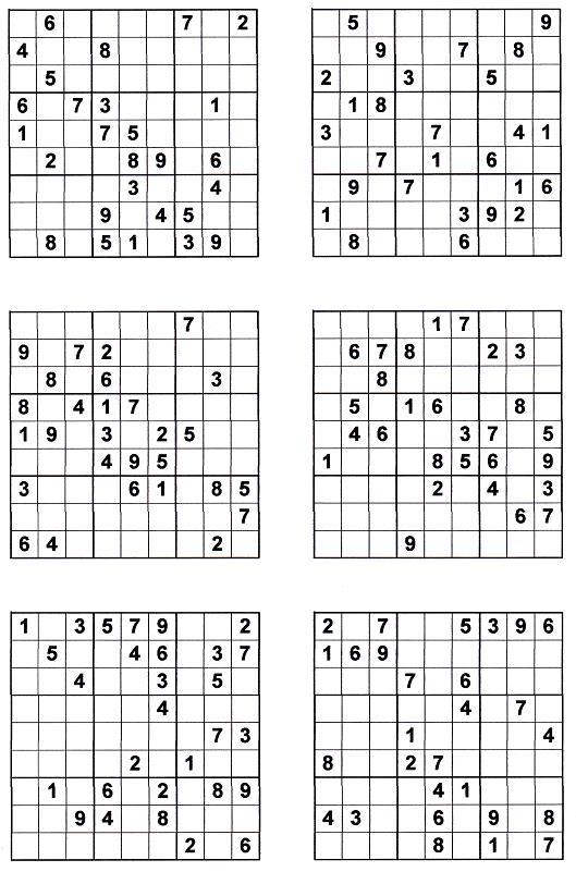 Судоку для печати 9х9, 9 вариантов