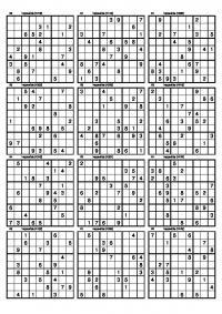 Судоку для печати 12 вариантов, 9х9
