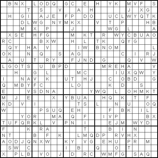 Судоку для печати из латинских букв