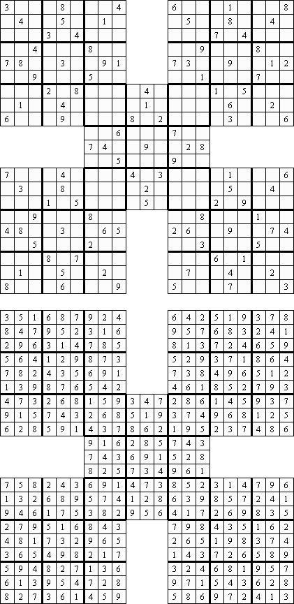 Судоку для печати с вариантом ответов