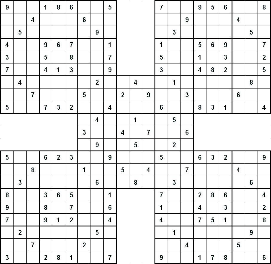 Судоку для печати 9х9, 5 соединенных между собой