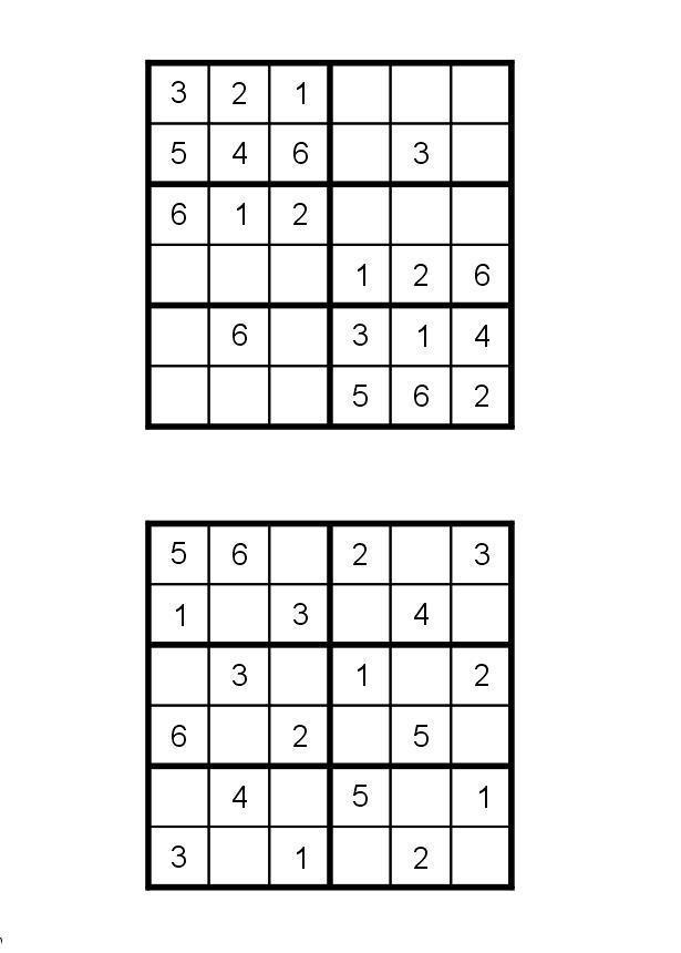 Судоку для печати 6х6, 2 варианта