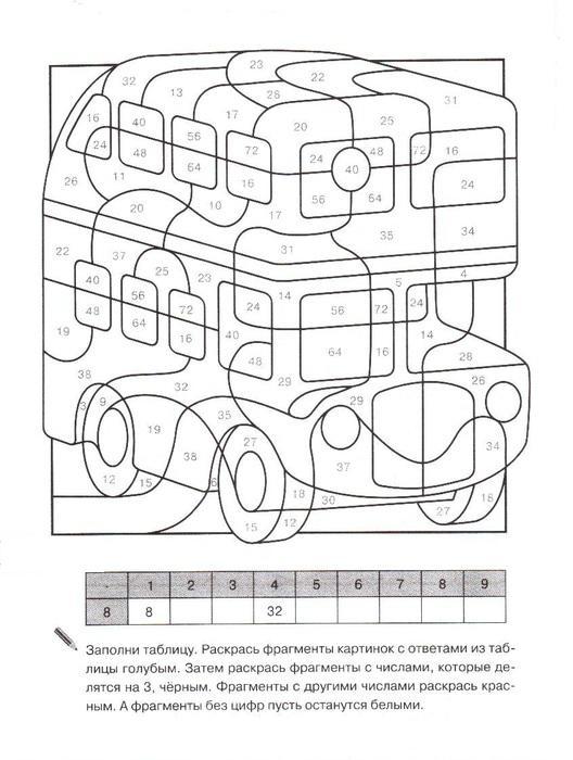 Математические раскраски для 1 класса, автобус