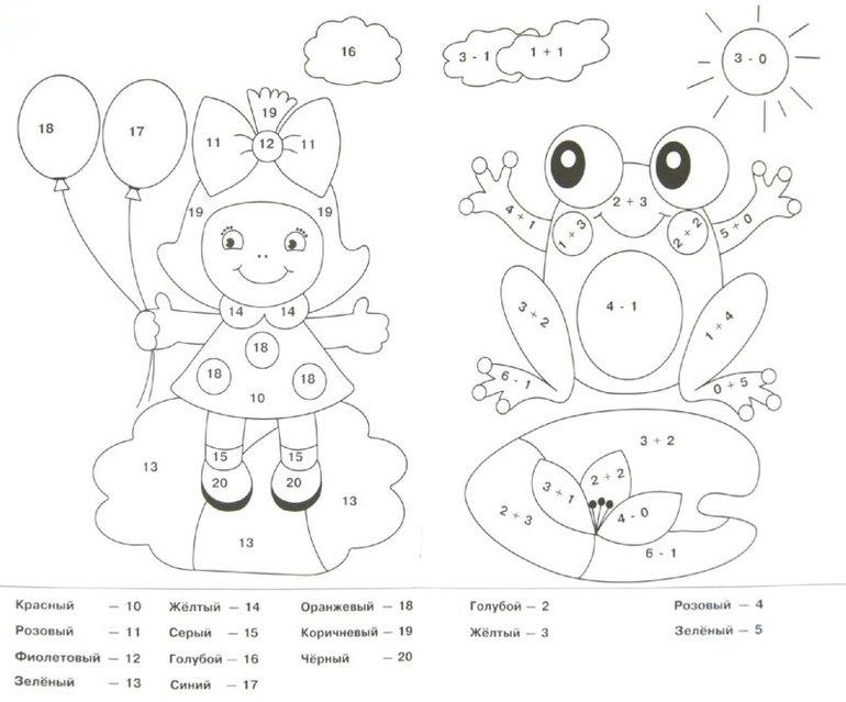 Раскраски с примерами на умножение, лягушка и кукла