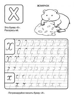 Буква х, прописи буквы по точкам, раскраска хомячек