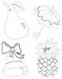 Соедини по точкам для самых маленьких, груша, зонтик, колокольчик, ананас