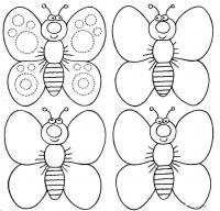 Раскраски фигуры, бабочки с круглыми пятнами