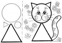 Раскраски фигуры, кошка из круга и треугольников