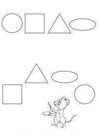 Раскраски из фигур, мышонок раскрашивает круг, квадрат, треугольник