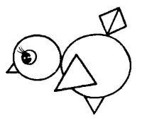 Раскраски из фигур. птенец