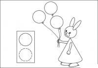 Раскраски из фигур, крольчиха с воздушными шарами