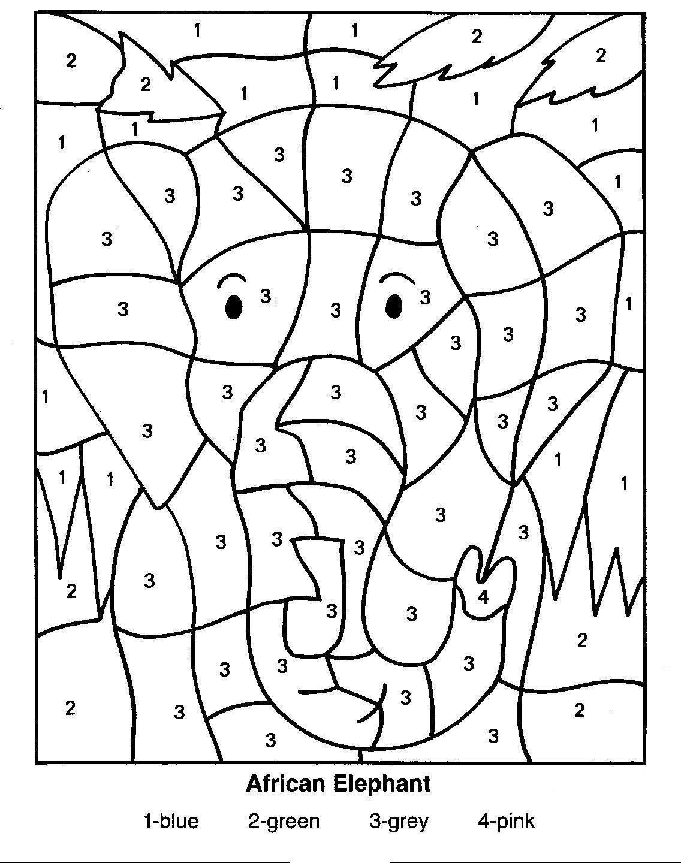 Раскраски слон по цифрам на английском