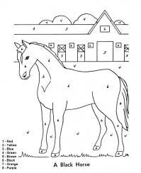 Раскраски на английском, лошадь на ферме