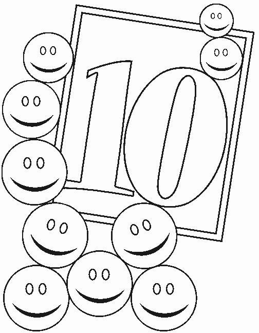 Раскраски цифра 10, десять смайликов