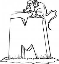 Раскраски английские буквы, буква м и мышь