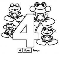 Раскраски цифра 4, четыре лягушки