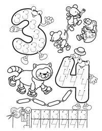 Цифры 3 и 4, с раскрасками три мышонка и кошка