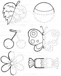 Дорисуй половинки листочков, бабочки, вишни, конфеты, цветка