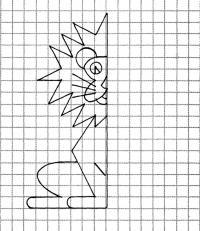 Дорисуй половинку льва по клеточкам