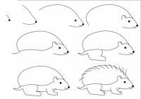 Нарисовать поэтапно животных, ежик