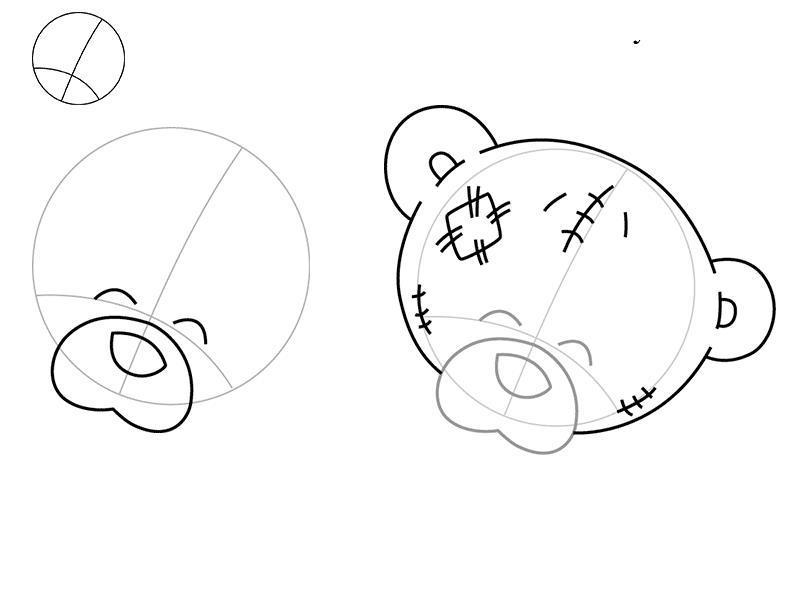 Нарисовать поэтапно мишку тедди