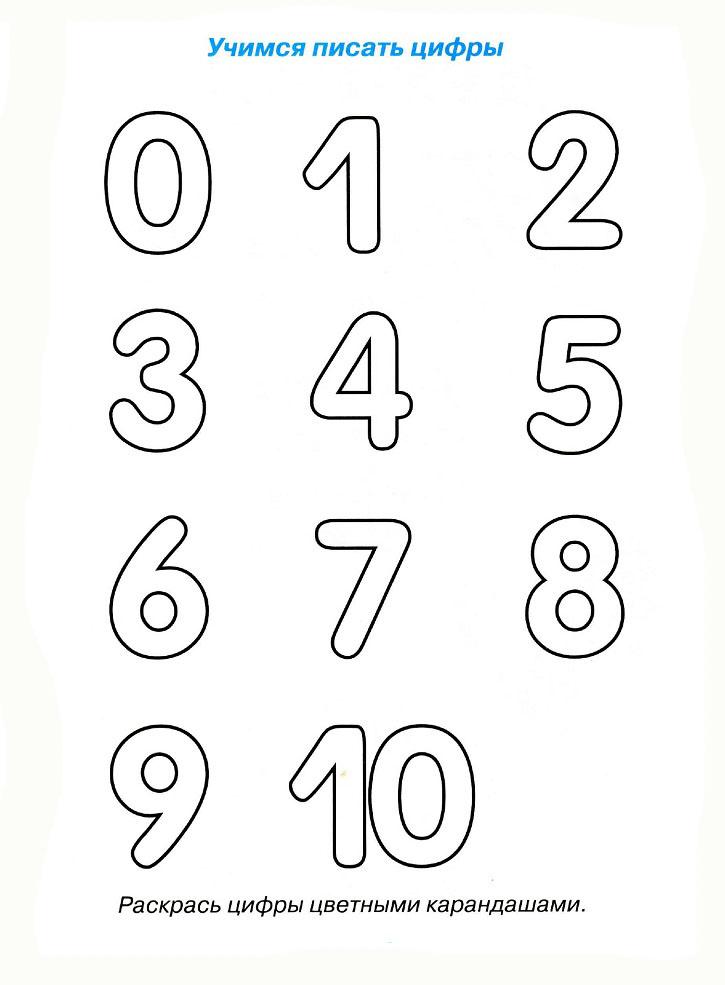 Учимся писать цифры, раскраска цифры