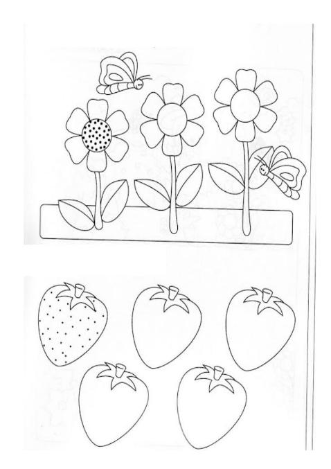 Штриховки для детей, поставь точки на цветочке и ягодах