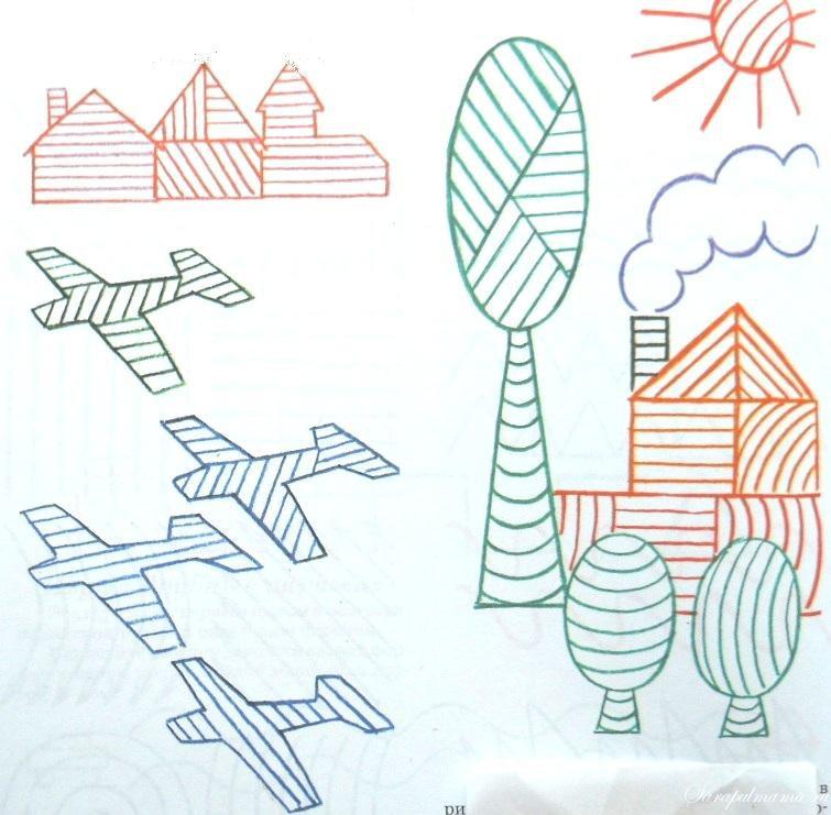 Штриховки для детей, домики, деревья, самолеты