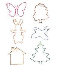 Штриховки для детей, бабочка, древо, заяц