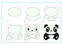 Нарисовать поэтапно животных, панда сидит