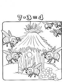 Раскраски учимся считать, вычитание, пчелы в улье