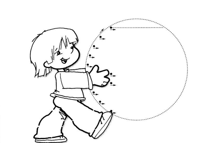 Штриховки для детей, заштрихуй большой мяч