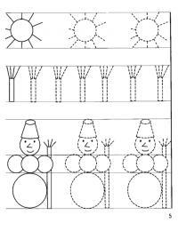 Прописи для дошкольников, снеговички