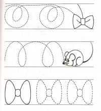 Прописи для дошкольников, бантики и мышки