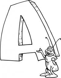 Буквы раскраски, буква а и муравей