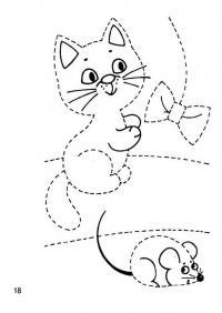 Для дошкольников раскраска, кошка с мышкой