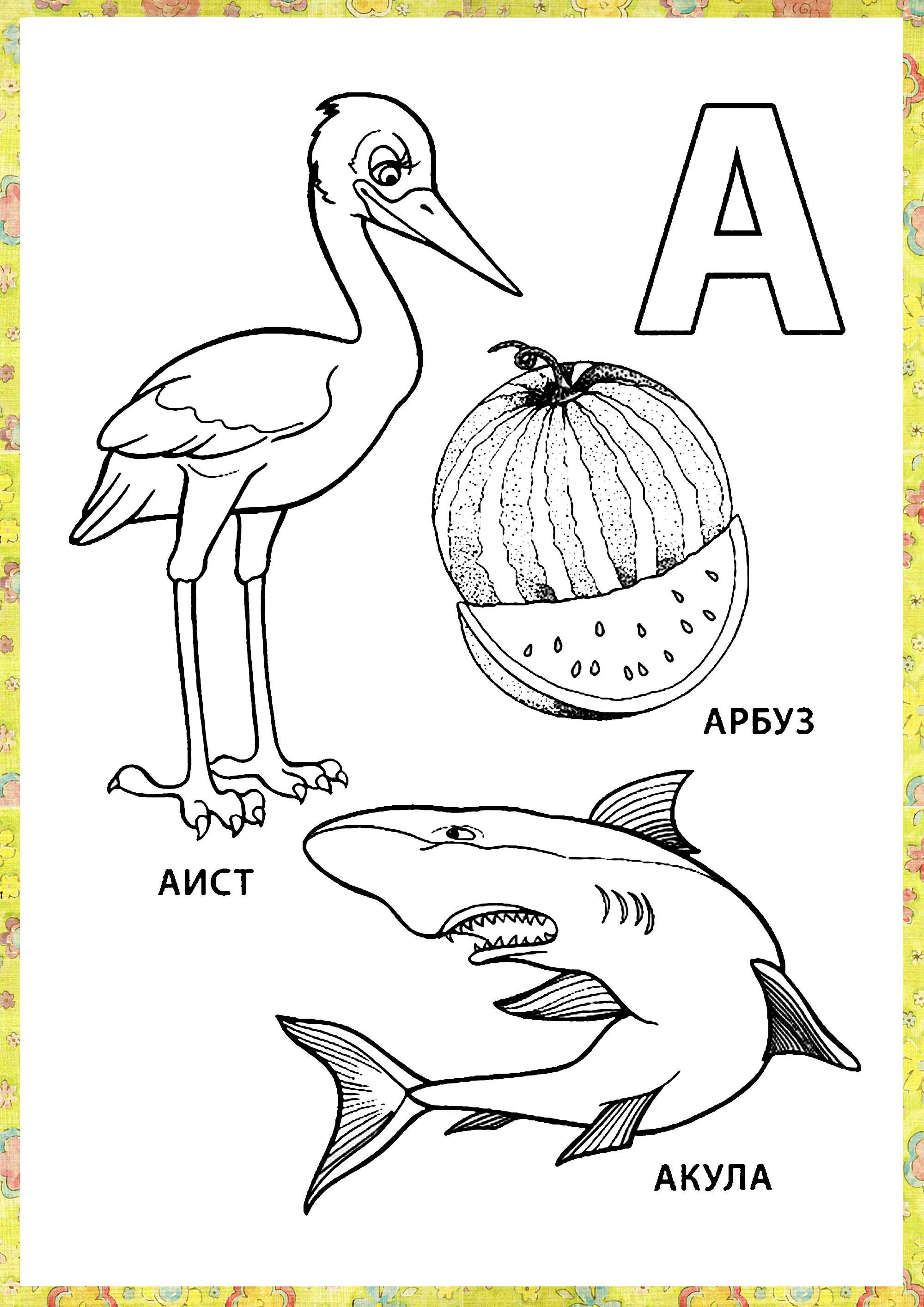 Раскраски учимся читать, буква а, аист, арбуз