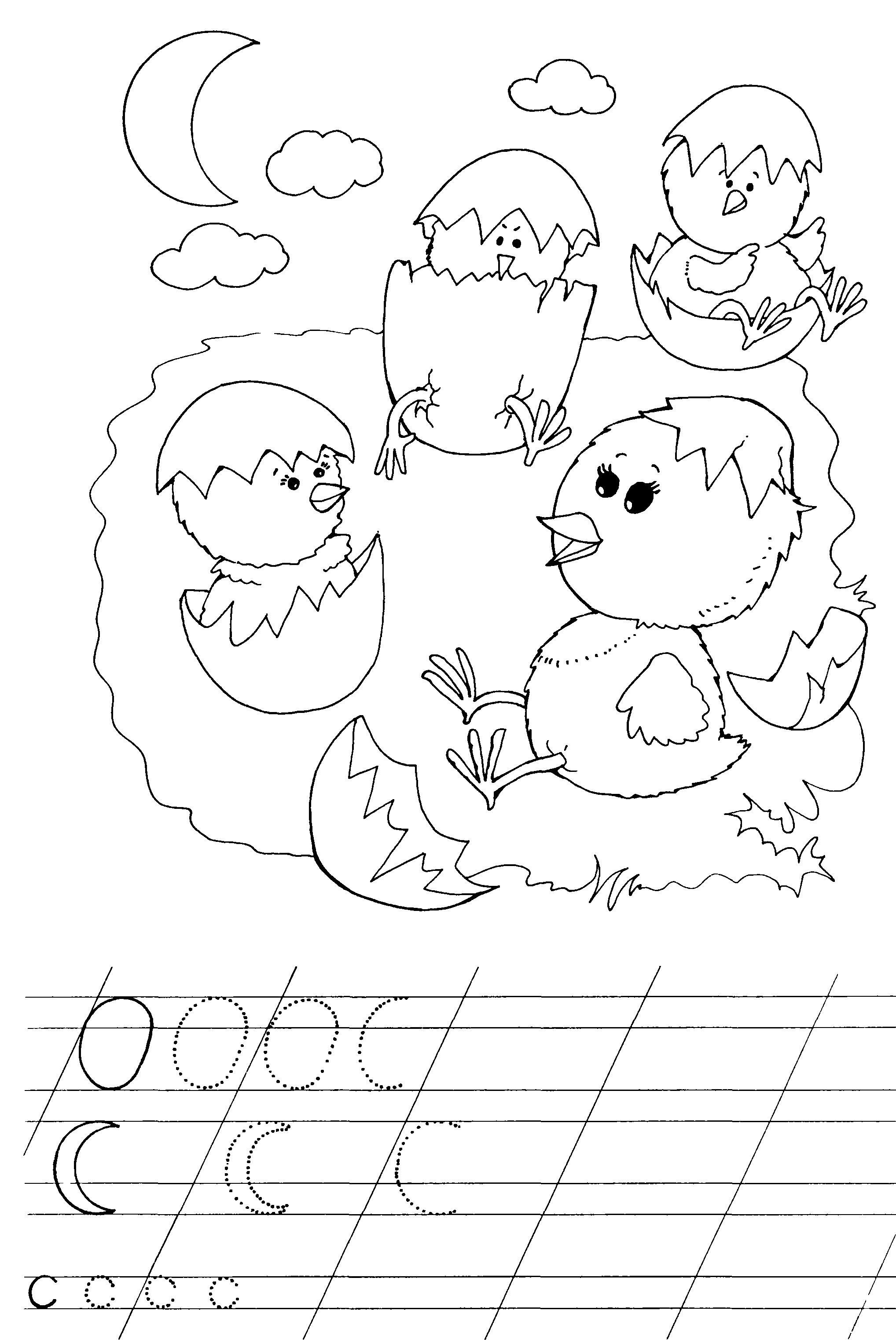 Прописи для дошкольников, цыплята в яичках