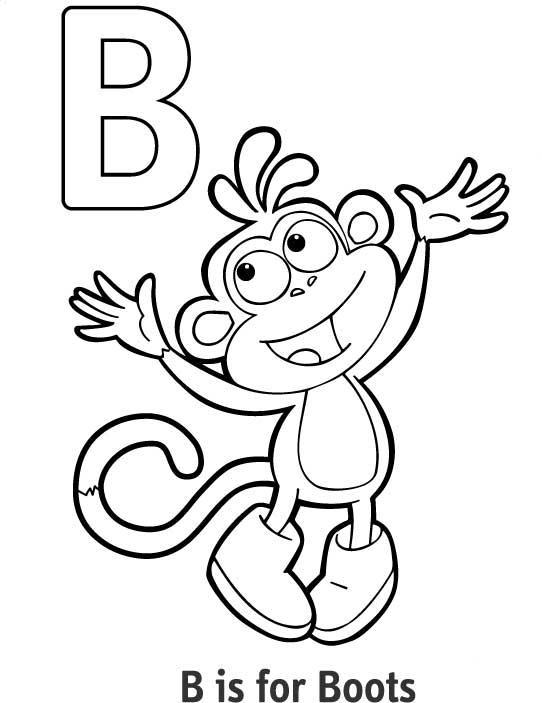 Раскраски алфавит, буква в, обезьянка