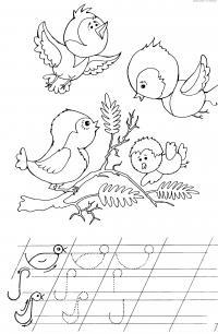 Прописи для дошкольников, птички на веточке