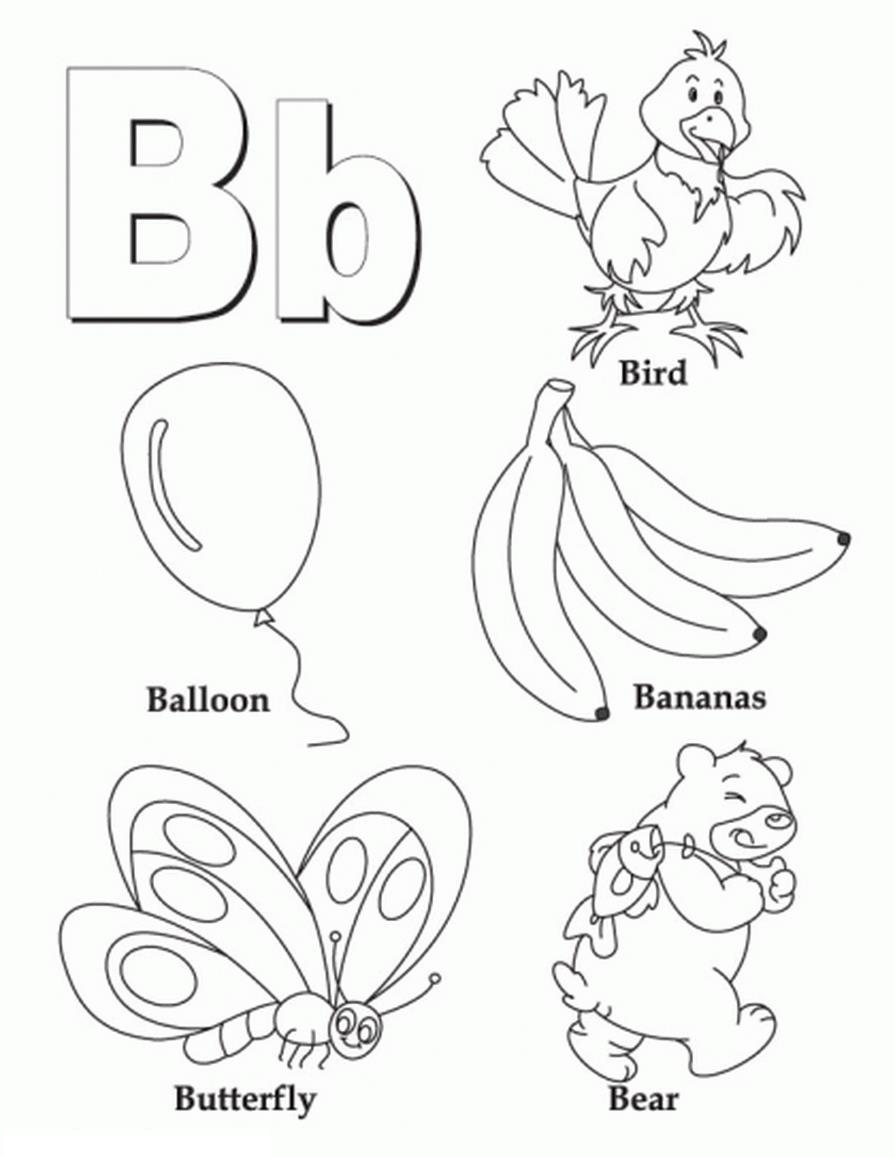 Раскраски алфавит, буква в, птица, банан, шар