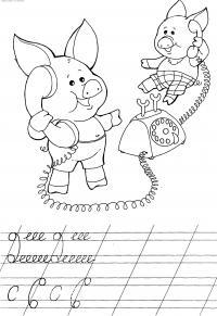 Прописи для дошкольников, раскраска два поросенка с телефоном