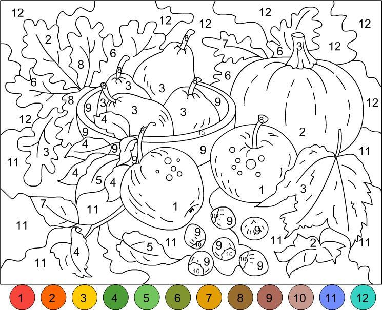 раскраски по номерам фрукты овощи