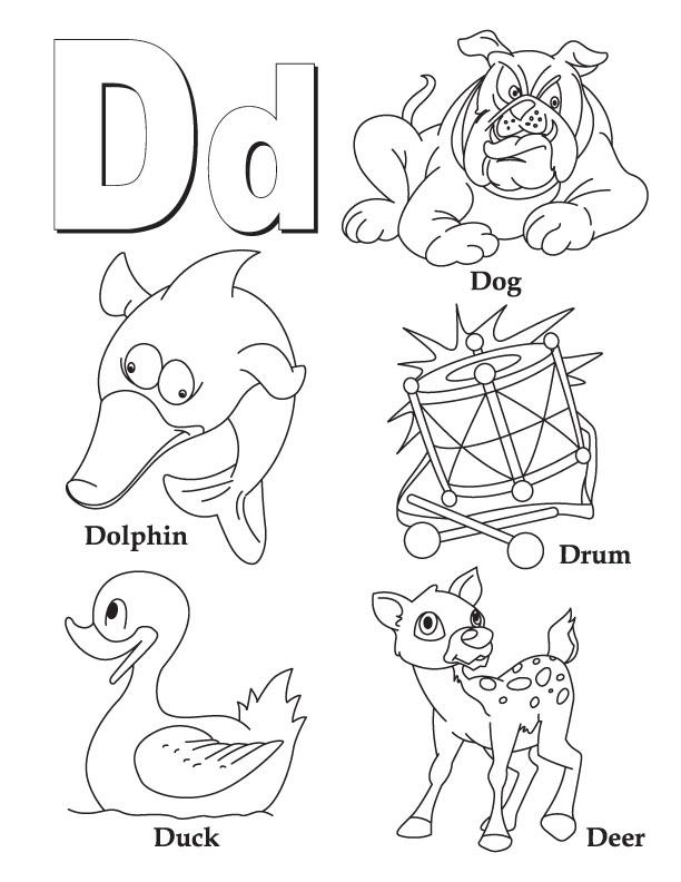 Буква d, собака, дельфин, барабан