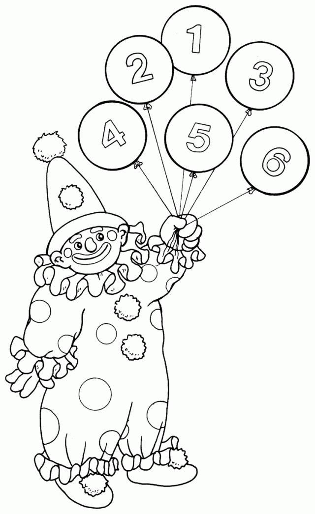 Учимся считать, клоун с пронумерованными шариками