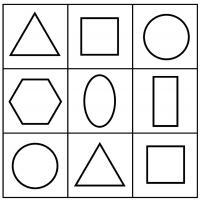 Раскраски формы, треугольник, квадрат, круг